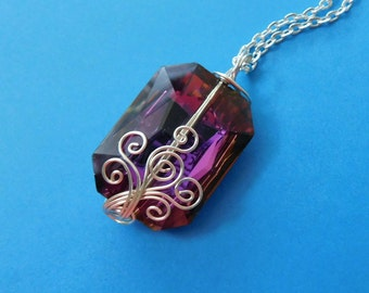 Purple Pendant Necklace Girlfriend Gift, Unique Wire Wrap Jewelry Girlfriend Gift, Handmade Jewelry Gift for Wife