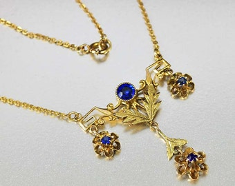 Antique Edwardian 10K Gold Sapphire Necklace, Lavaliere Pendant, Blue Paste Necklace, 1900s Antique Necklace Dainty Lavalier Girlfriend Gift