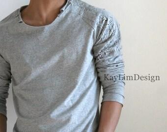 Men's destroyed t-shirt / men' sweatshirt / tattered t-shirt / baseball sleeve t-shirt KMT083