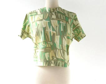 Vintage 60s Blouse | Le Jazz Vert | Abstract Print Top | Large L