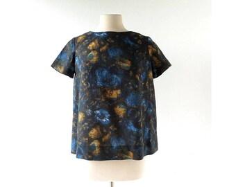Vintage 60s Top   Moody Blue   Floral Blouse   Medium M