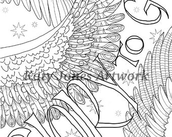 Angel Wings printable Christmas colouring card or digi stamp - instant digital download for coloring or cardmaking - Christian/Religious