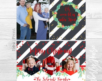 Oh come let us adore Him- Double Sided Custom Christmas Cards or Holiday Greeting Card