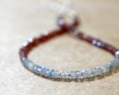 garnet & labradorite necklace with tiny seed beads. dainty lightweight gemmy string necklace. labradorite garnet jewelry