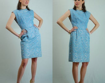 Lace Sheath Dress Vintage 50s Darling Light Blue Lace Overlay Fitted Sheath Dress (xs s)