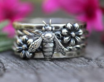 Sterling Silver Stacking Rings Stackable Rings Sterling Silver Rings Bee Ring Bee Jewelry Sterling Silver Flower Ring Stacking Ring Silver