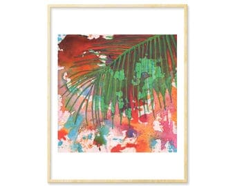 Abstract Print, Tropical Art, Watercolor Print, Tropical Decor, 8.5x11, Colorful Print, Palm Tree, Palm Leaf, Beach Lover, Turquoise Decor