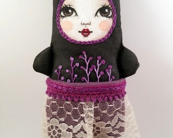 Handmade Kitty Embroidered Fabric Cloth Art Doll