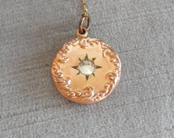 Vintage Pendant, Victorian? Revival? with Paste Stone, Scrolling Metalwork