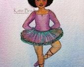 ORIGINAL painting, purple and green Ballerina with a Fro watercolor, 4x5 inches