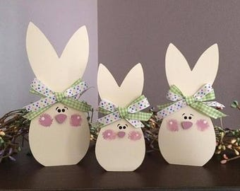 Standing bunnies, set of 3, personalized