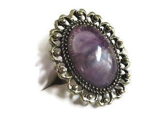 Purple Swirl Lucite Ring Size 6.5 Adjustable Vintage