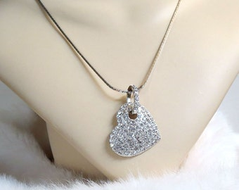 Clear Pave Rhinestone Heart Pendant Necklace Vintage