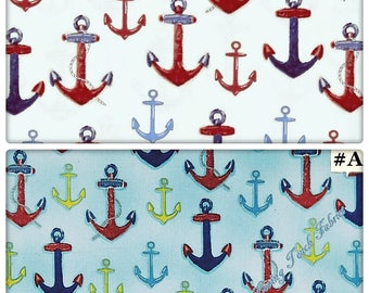 "Robert Kaufman ""Down By The Sea"" Nautical Boat Ship Anchors Fabrics (Select)"