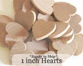 Unfinished Wooden Hearts - 1 inch - Pack of 50