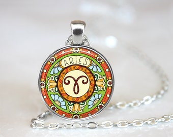 Aries Zodiac Sign Horoscope Changeable Magnetic Pendant Necklace with Organza Bag