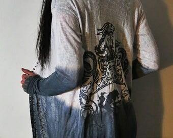 Satanic Warmaster Crest Ombre Midi Hoodie Robe