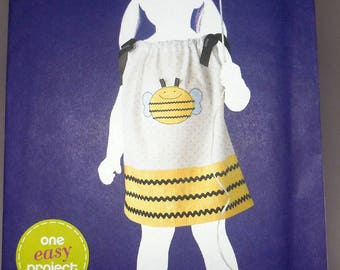 Simplicity 1982 - Very Easy to Sew Toddler's Pillowcase Dress - Sundress - Bee Applique - Size 1/2 - 4 - UNCUT DIY Sewing Project