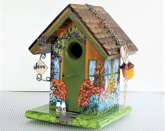 Unique Gold and Green Handmade Birdhouse , Hand Painted , Colorful , with Extras and a Clean Out