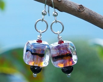 ridescent purple blue and amber handmade lampwork cube bead silver hook earrings