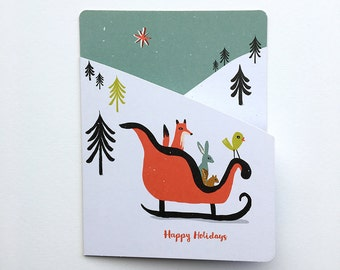 SALE - Sleigh Animals Boxed Holiday Cards