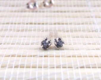 Black Diamond Stud Earrings Rough 3mm
