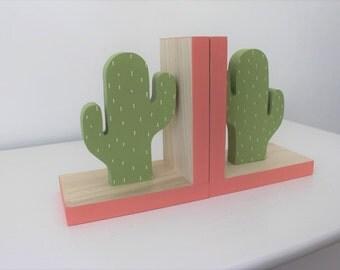Cactus Bookends Coral Pink Accent, Cactus Nursery, Cactus Kids Decor, Greenery, Succulent, Succulence, Green Cactus Decor, Wood Bookend,