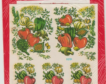 Yummy Veggies Decoupage water applied decal Meyercord Company,decalart,fun and easy,DIY,water apply, garden,gardening, peppers,tomatoes,
