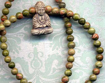 Unakite Jasper Buddha Necklace, OOAK Buddha Necklace, Buddha Necklace, Green Nepal Necklace,  Unique Buddhist Necklace by AnnaArt72