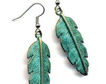 Big Feather Earrings, Green Patina Feather Earrings, Surgical Steel Feather Earrings, Gold Feather Earrings, Stainless Steel Earrings