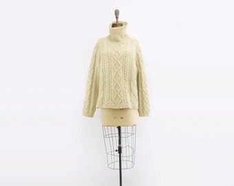 Vintage Aran Sweater Cabled Boxy Sweater 70s Oversize Sweater Ivory White Sweater Irish Knit Sweater Turtle Neck Funnel Neck to XL