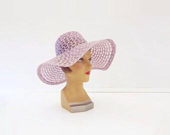 Vintage Wedding Hat, 70s Wide Brim Hat, Boho Wedding Hat, 70s Mauve Floppy Hat, 1970s Wedding Hat, Lilac Sun Hat, Lace Wedding Hat, L