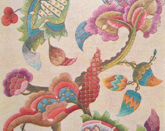 Jacobean Embroidery by Penelope UK - vintage needlework sewing book 30s 1930s antique English crewel work designs - flowers animals birds