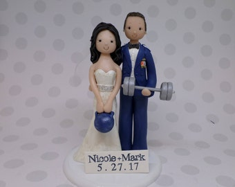 Bride & Groom Weight Lifters Customized Wedding Cake Topper