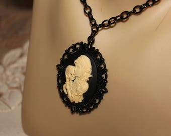 Goth, Steampunk, Cameo Necklace. Woman Caressing Skull, Goth Pendant. Hauntingly, Beautiful, Goth Cameo Pendant. Goth, Steampunk, Jewelry