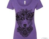 Womens FRIDA BEAR Scoop Neck Tee - T Shirt s m l xl xxl  (+Color Options)