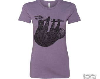 Womens Tree SLOTH T-Shirt -hand screen printed s m l xl xxl (+ Colors Available)