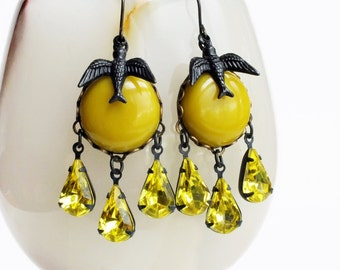 Yellow Rhinestone Earrings Mustard Yellow Cabochons Bird Earrings Chartreuse Chandelier Dangle Earrings Chartreuse Jewelry