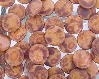 18x5mm Opaque Mauve HEAVY Picasso Czech Glass Coin Beads - Qty 10 (AW316)