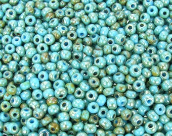 6/0 Opaque Light Blue Turquoise Silver Picasso Czech Glass Seed Beads 20 Grams (CS273) SE