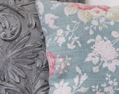 Vintage Retro Bark Cloth Cushion Duck Egg Green Lipstick Pink Damask Silk Pretty Floral Country House Drawing Room c.1950 Textile Handmade