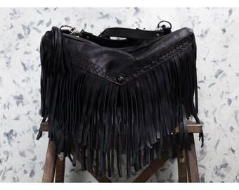MELISSA  - Leather Convertible Backpack Shoulder Fringe Biker Babe Bag