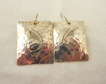 SALE ---- Vintage Large Sterling Silver Hammered Rectangle Swirl Cutout Earings