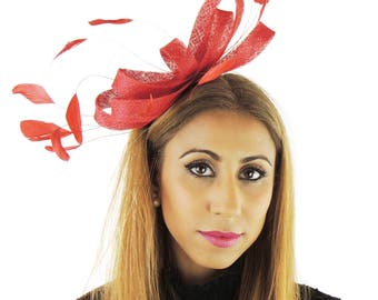 Red Fascinator Kentucky Derby or Wedding Hat **SAMPLE SALE