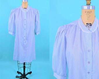 1980s shirt dress | blue white stripe puff sleeve nightgown style dress | vintage 80s dress | L/XL