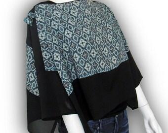 Japanese Kimono Recycled- 2-Way Origami Blouse Shrug - Two-Tone /Lozenge Pattern