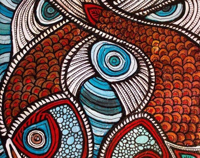 Original Splashing Fish Painting by Artist Lynnette Shelley