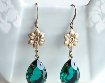 Swarovski Emerald Rhinestone and Flower Earrings Teardrop Pear Retro Old Hollywood
