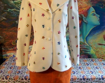 Embroidered Jacket, 70s Ivory Jacket, Spring Blazer, Spring Break, size M