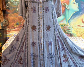 Plus size, Embroidered Dress, NWT, Blue Dress, 80s maxi dress, Indian dress, size 2X